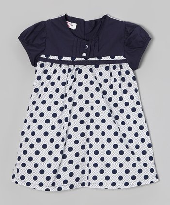 Navy Polka Dot Babydoll Dress - Toddler & Girls