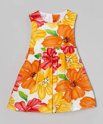 Orange & Yellow Floral A-Line Dress - Toddler & Girls