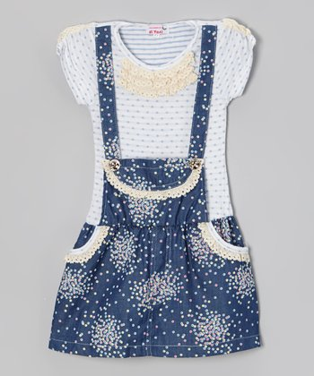 Blue Polka Dot Cluster Jumper Dress - Toddler & Girls