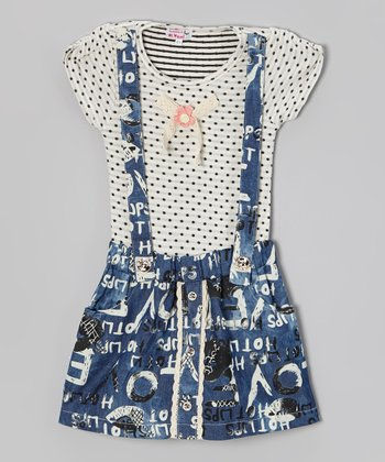 Blue Polka Dot Jumper Dress - Toddler & Girls