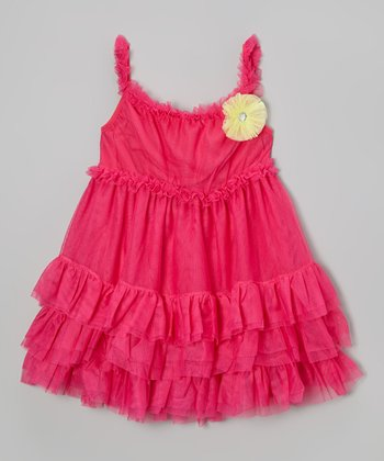 Fuchsia Flower Ruffle Babydoll Dress - Girls
