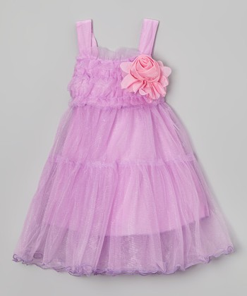 Lavender Flower Ruffle Babydoll Dress - Girls