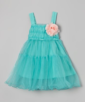 Turquoise Flower Ruffle Babydoll Dress - Girls