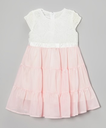 White & Pink Rosette Ruffle Babydoll Dress - Toddler & Girls