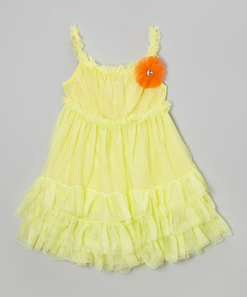 Yellow Flower Ruffle Babydoll Dress - Girls