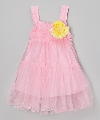 Rose Flower Ruffle Babydoll Dress - Girls