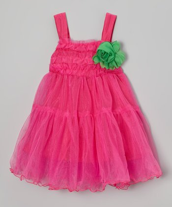 Pink Flower Ruffle Babydoll Dress - Girls