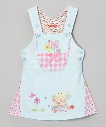 Blue 'I Love Strawberries' Dress - Infant, Toddler & Girls