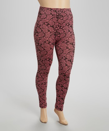 Wallpaper Floral Seamless Leggings  - Plus
