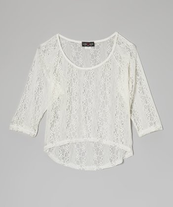 Ivory Lace Stripe Hi-Low Top