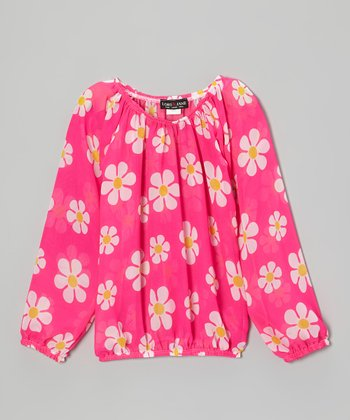 Hot Pink Daisy Peasant Top