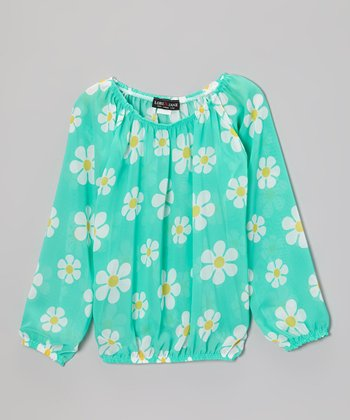 Mint Daisy Peasant Top