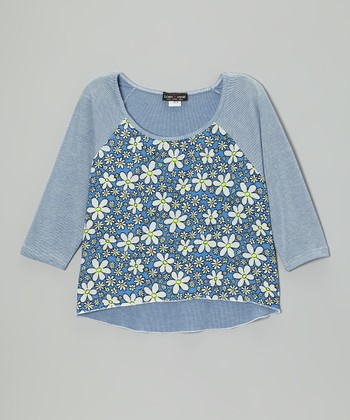 Blue Daisy Raglan Top