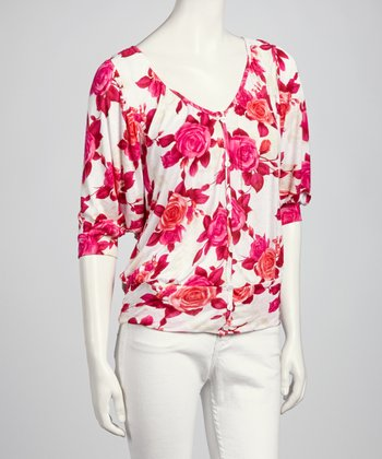 Pink & White Floral Crochet Button-Up Top