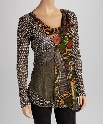 Christine Phillipë Black & Green Patchwork Tunic