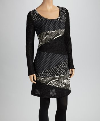 Christine Phillipë Black & Gray Patchwork Tunic