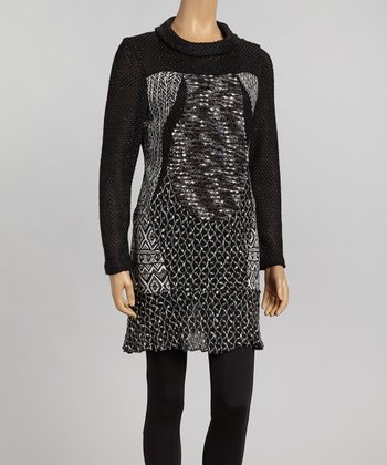 Black & Gray Sequin Tunic - Women
