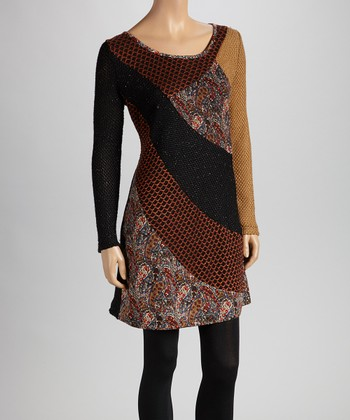 Christine Phillipë Black & Mustard Asymmetrical Panel Tunic