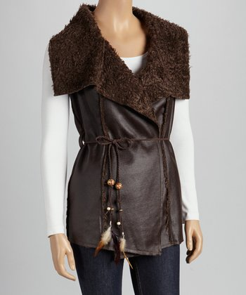 Christine Phillipë Brown Faux Fur Tie-Waist Vest