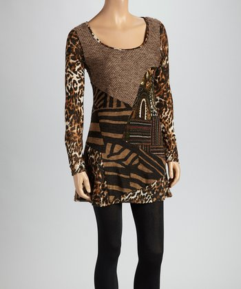 Christine Phillipë Brown & Olive Leopard Patchwork Tunic