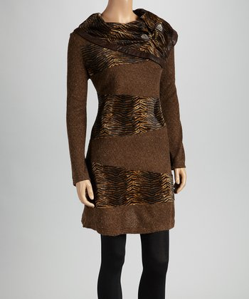 Christine Phillipë Brown Animal Panel Cowl Neck Tunic