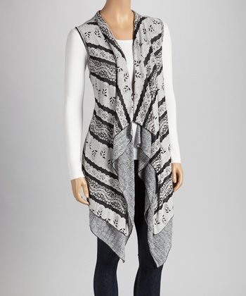 Christine Phillipë Black & Gray Stripe Sidetail Vest