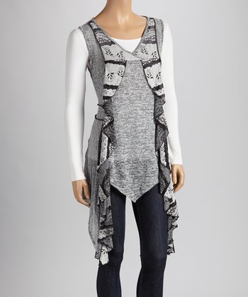 Christine Phillipë Black & Gray Ruffle Tunic