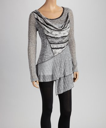 Christine Phillipë Black & Heather Gray Ruffle Tunic