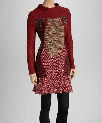 Christine Phillipë Red & Black Ruffle Patchwork Tunic