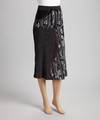 Christine Phillipë Black & Gray Embroidered Peasant Skirt