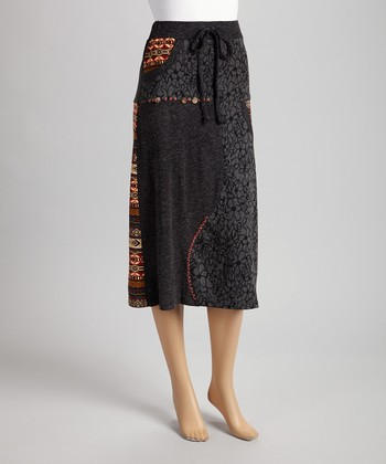 Christine Phillipë Gray & Brown Embroidered Peasant Skirt