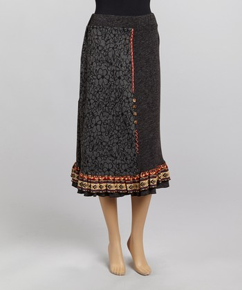 Christine Phillipë Gray & Yellow Floral Embroidered Peasant Skirt