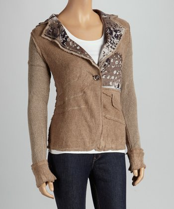 Christine Phillipë Light Brown Abstract Blazer Jacket