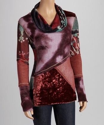 Christine Phillipë Wine & Navy Tie-Dye Cowl Neck Top