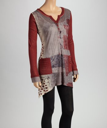 Christine Phillipë Wine & Charcoal Abstract Patchwork Tunic