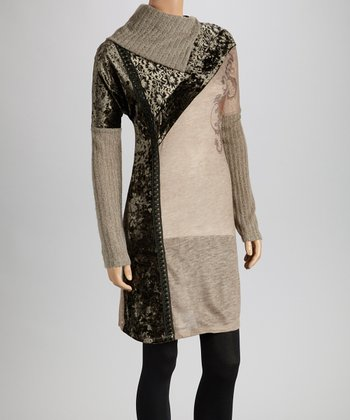 Christine Phillipë Brown & Gray Asymmetrical Patchwork Cowl Neck Tunic