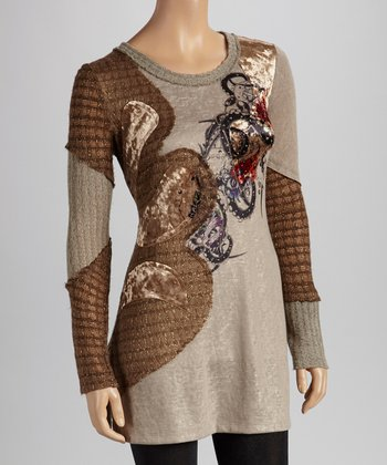 Christine Phillipë Tan & Gray Embroidered Tunic