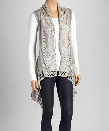Christine Phillipë Gray & White Cutout Sidetail Vest