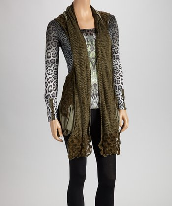 Christine Phillipë Olive Animal Ruffle Tunic