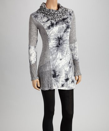 Christine Phillipë Gray & Black Abstract Wash Cowl Neck Tunic