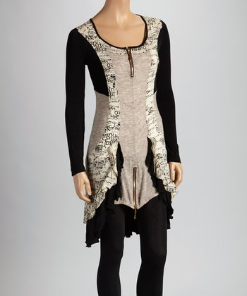 Christine Phillipë Tan & Black Zipper Ruffle Tunic