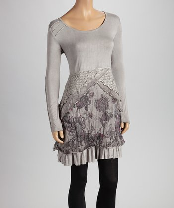 Christine Phillipë Gray & Violet Stripe Ruffle Tunic