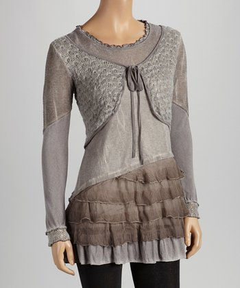 Christine Phillipë Gray & Taupe Shirred Ruffle Tunic
