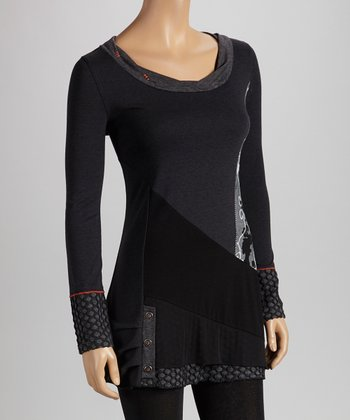 Christine Phillipë Black & Gray Embroidered Patchwork Tunic
