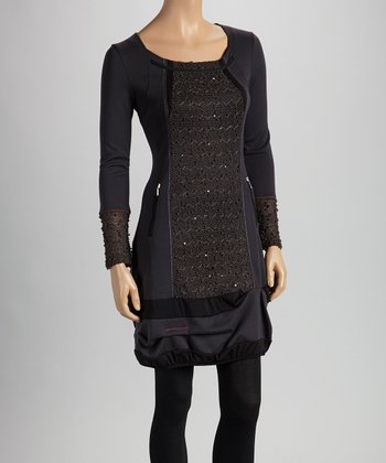 Christine Phillipë Gray & Brown Zipper Tunic