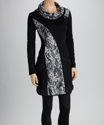Black & White Floral Patchwork Cowl Neck Tunic