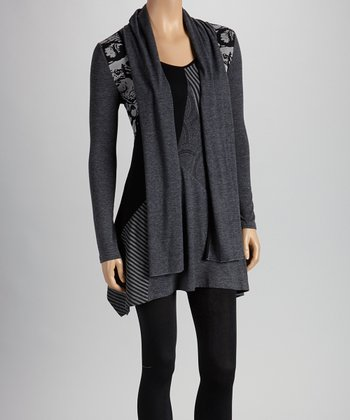 Christine Phillipë Black & Gray Patchwork Tie-Neck Tunic