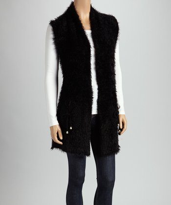 Christine Phillipë Black Faux Fur Open Vest