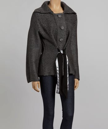 Nicole Sabbattini Black & Gray Stripe Bow Jacket