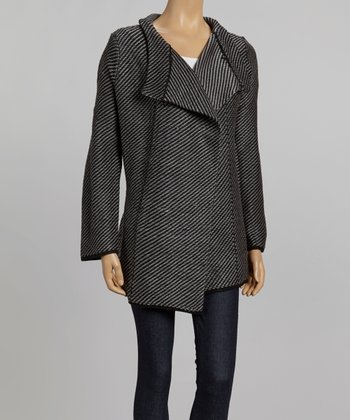 Nicole Sabbattini Black & Gray Stripe Open Jacket